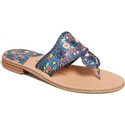 ジャックロジャース Jack Rogers レディース サンダル・ミュール フラット シューズ・靴 Jacks Icon Floral Flat Sandals Midnight
