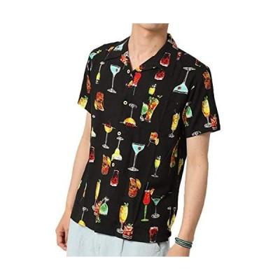(アーケード) ARCADE 開襟シャツ メンズ アロハシャツ 無地 柄 半袖シャツ 大きいサイズ オープンカラーシャツ (F-BLACK L)
