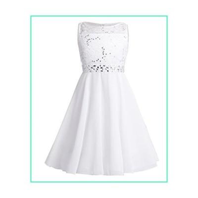 YiZYiF Kids Sequins Rhinestone Belt Embroidered Communion Pageant Wedding Party Flower Girls Dresses Z1 Chiffon White 4並行輸入品