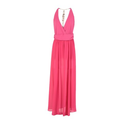 HELLEN BARRETT ロングワンピース&ドレス フューシャ L ポリエステル 100% / アクリル / ナイロン / ポリウレタン ロング