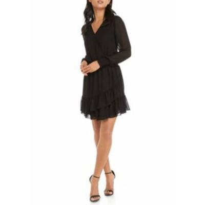マイケルコース レディース ワンピース トップス Women's Ruffle Hem Smocked Chiffon Dress Black
