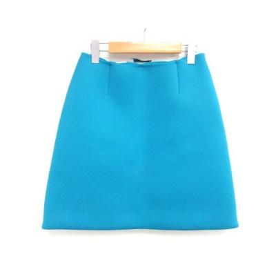 【中古】プラダ PRADA ひざ丈 台形 スカート ボンディング ブルー 青 38 0915 レディース 【ベクトル 古着】