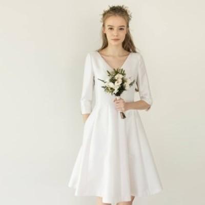 ウェディングドレス 白 二次会 花嫁 ウェディング ドレス ミニ 結婚式 大きいサイズ Vネック 袖あり 五分袖 Aライン フレア シンプル