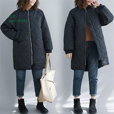 レディース 中綿コート キルティング オーバーコート 軽量 秋冬 スタンド綿入れ 女子アウター ロング