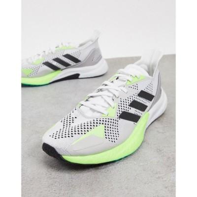 アディダス adidas performance メンズ ランニング・ウォーキング シューズ・靴 adidas X9000L3 Running trainers with green contrast in grey グリーン