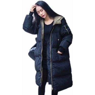 中綿コート レディース ロング フード付き ラグラン ゆったり 大きいサイズ 無地 黒 カジュアル 冬 アウター(s2012251039)