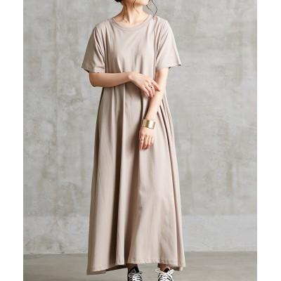 ヘビーウエイトシンプル無地フレアマキシワンピース (ワンピース)Dress
