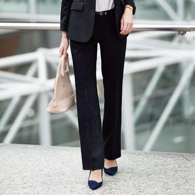 スーツ用パンツ(ストレート・セミブーツカット)(事務服・洗濯機OK)/ストライプA(ストレート)/70-95(股下76)