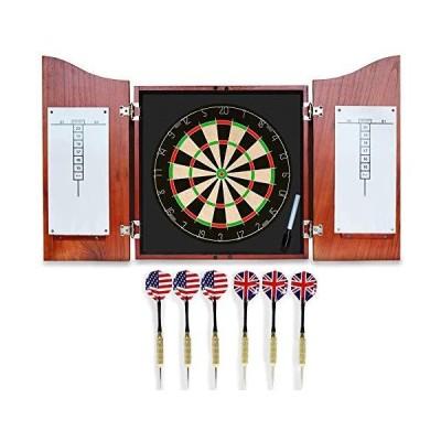 Dart Board Set -Solid Wooden Cabinet + 17inch Bristle Dartboard + 24g Darts Metal Tip Set + Scoreboard and Marker, Classical Dart Boards for