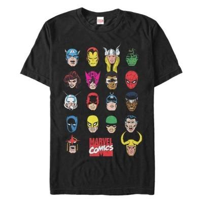 マーベル メンズ Tシャツ トップス Men's Comic Collection Classic Head Shots Short Sleeve T-Shirt