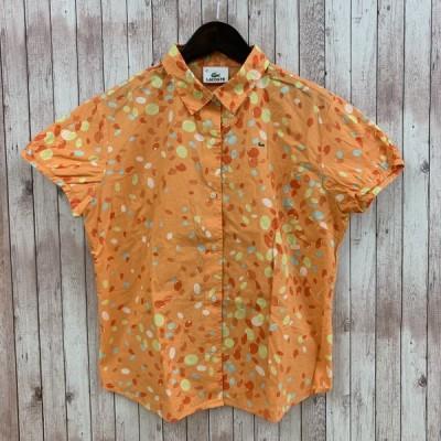 LACOSTE ラコステ シャツ 半袖 マーブル柄 42 オレンジ系 ブラウス レディース Y12