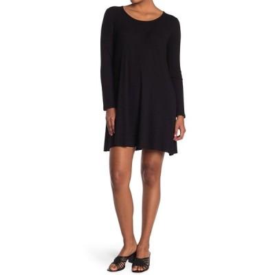 フォーティーンス プレイス レディース ワンピース トップス Ribbed Knit Swing Dress BLACK SOOT