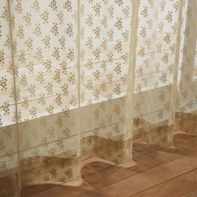 レースカーテン(透け感を楽しむチュール)/ソフトベージュ/幅100×丈93cm(2枚組)