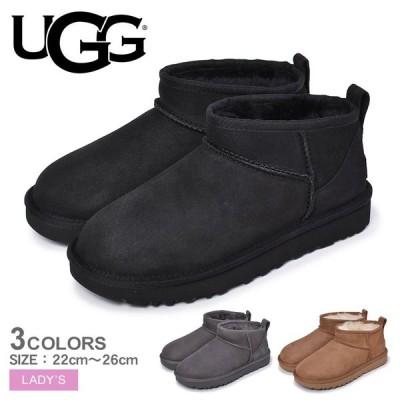 アグ ムートンブーツ レディース クラシック ウルトラ ミニ UGG 1116109 ブラック 黒 靴 シューズ 防寒  ショート ムートン ブーツ