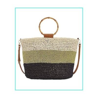 【新品】INC International Concepts Willoww Women's Stripe Colorblock Woven Straw Tote Bag (One Size, Light Beige/Multi)(並行輸入品)