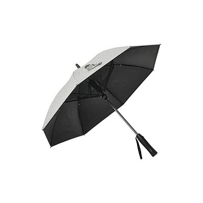 扇風機付き日傘 完全遮光 UVカット99.9%以上 FAN COOL ファンクール 水玉デザイン オフホワイト×ネイビー 19インチ 日傘 おしゃれ