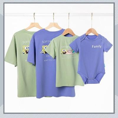 親子ペア ベビー 赤ちゃん カバオール 親子 ペアルック 親子ペア Tシャツ 半袖 トップス 親子お揃い 兄弟 お揃い 夏 パパ ママ キッズ 子供 父の日 母の日