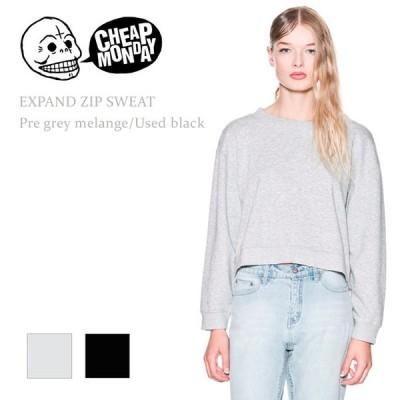 【SALE】 Cheap Monday チープマンデー EXPAND ZIP SWEAT Used Black/Pre Grey Melange プルオーバー