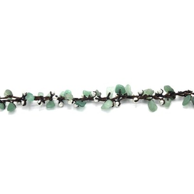 MGD, Green Aventurine Bead and Silver Bead Anklet, 25 CM w/ 1 Inch Ext