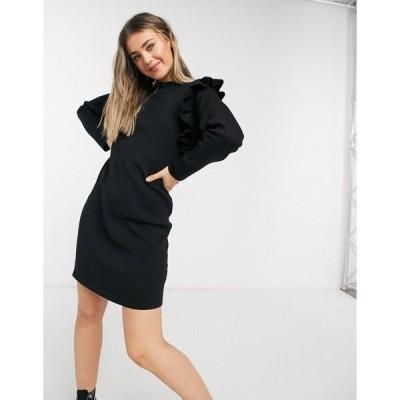 QEDロンドン レディース ワンピース トップス QED London ruffle detail sweater dress in black Black