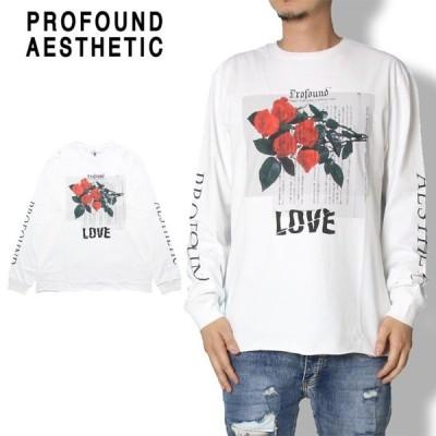 """ポイント5倍 PROFOUND AESTHETIC プロファウンド・エステティック ロングスリーブTシャツ """"PEACE IN DIFFERENT"""" RAW-BOTTOM LONG SLEEVE GRAPHIC TEE TOP-356"""