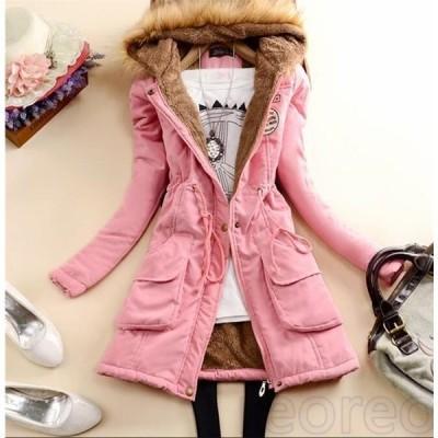 中綿コートレディースロング無地厚手中綿ジャケットフード付きアウター秋冬防寒防風おしゃれ