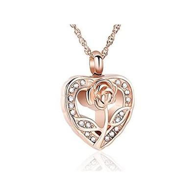 送料無料!shajwo Cremation Jewelry Urn Ashes Necklace Rose Flower Crystals Heart Lock