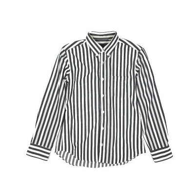 【中古】フリークスストア FREAKS STORE ストライプ柄 ボタンダウンシャツ カットソー トップス 長袖 グレー ホワイト サイズM ◎A2 メンズ 【ベクトル 古着】