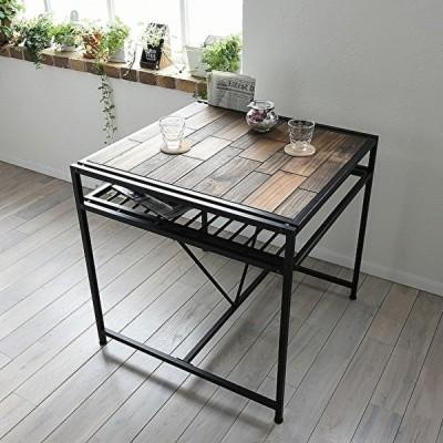 ダイニングテーブル 単体 幅75 マガジンラック付き 天然木 モザイク 木製テーブル キッチン テーブル シンプル モダン インテリア ウッド 木 北欧 おしゃれ