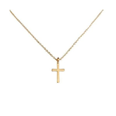 ROSTIVO Cross Necklace for Women Men Boys and Girls Dainty Cross Necklace (Gold)