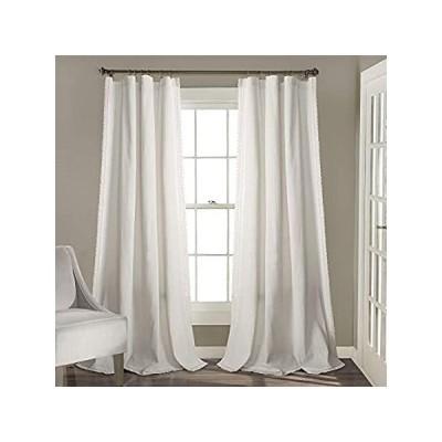 "Lush Decor, White Rosalie Window Curtain Panel Pair, 84"" x 54"""