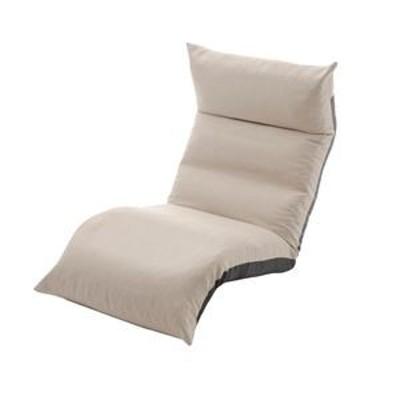 ds-2286879 リクライニング フロアチェア/座椅子 【ベージュ】 幅54cm 日本製 折りたたみ収納可 スチールパイプ ウレタン 〔リビング〕 (