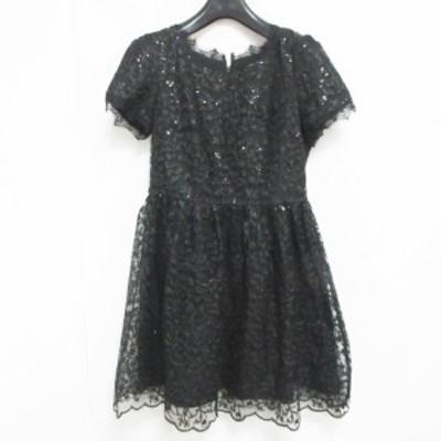 【中古】Yssine Sole 総レース ワンピース スパンコール刺繍 ドレス ミニ フレア 黒 F 0723 レディース