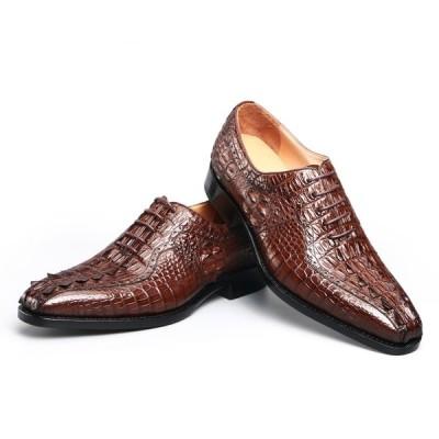 ワニ革 ビジネスシューズ メンズ 本革 クロコダイル革 革靴 結婚式 オフィス  通勤 父の日 プレゼント ギフト