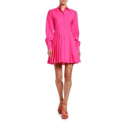 エムエスジイエム レディース ワンピース トップス Abito Long-Sleeve Dress Shirt with Pleated Skirt