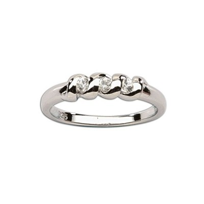 Sterling Silver Baby Ring With Twisted Band and White Sapphires並行輸入品 送料無料