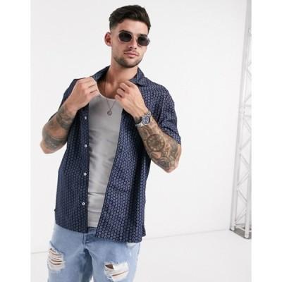 ジャック アンド ジョーンズ メンズ シャツ トップス Jack & Jones Premium short sleeve printed revere collar shirt with piping in navy