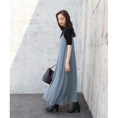 【ブルーイースト】 シフォン楊柳フレアーマキシキャミワンピース レディース グレー M(01) BLUEEAST