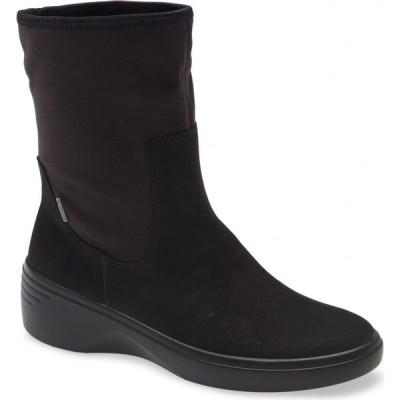 エコー ECCO レディース ブーツ ウェッジソール シューズ・靴 Soft 7 Gore-Tex Waterproof Wedge Boot Black/Black Leather
