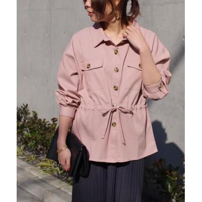 (Fizz/フィズ)【2021新作】胸ポケット付き ドロストデザインシャツ mitis SS/レディース ピンクベージュ