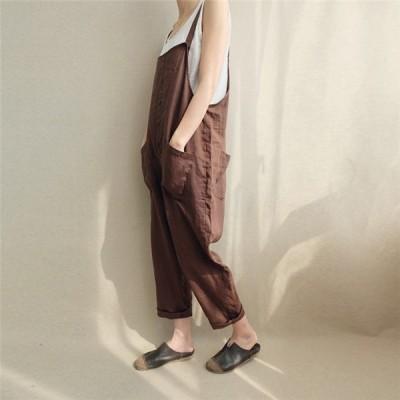 新作オーバーオールサロペット連体服ワイドパンツファッションゆったりオールインワンレディース体型カバー