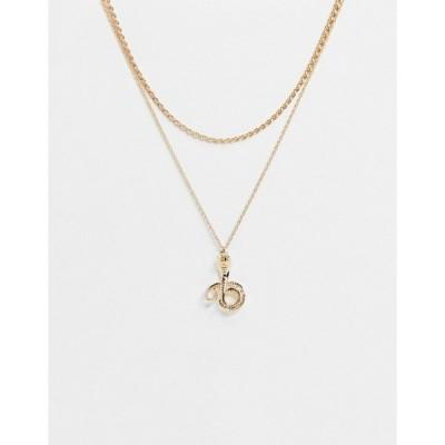 モンキ レディース ネックレス・チョーカー・ペンダントトップ アクセサリー Monki Corey layering necklace in gold Gold