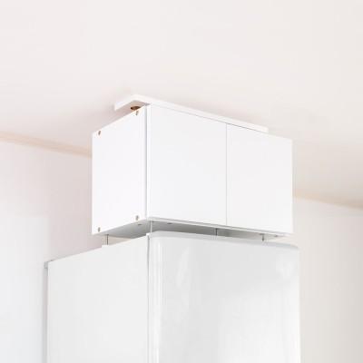 冷蔵庫上突っ張り収納庫 ロータイプ シルバー