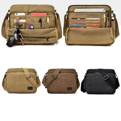 レトロショルダーバッグ メンズ 斜めがけ バッグ 多機能 大容量 通勤 ビジネスバッグ 旅行  帆布 かばん シンプル 男女兼用  カジュアル