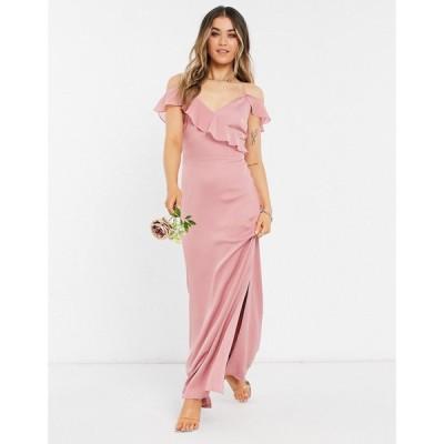 オアシス Oasis レディース パーティードレス マキシ丈 ワンピース・ドレス Bridesmaid ruffle satin maxi dress in pale pink ペールピンク