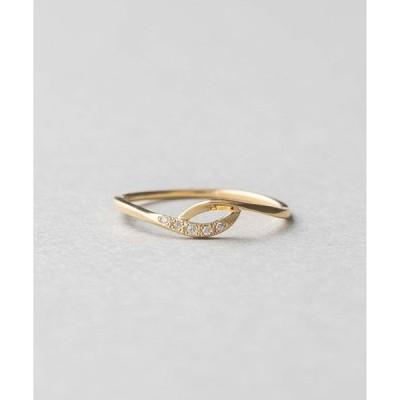 指輪 K18YG レイヤード ダイヤモンド リング