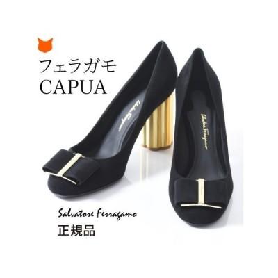 フェラガモ パンプス スエード レディース ハイヒール CAPUA Salvatore Ferragamo 正規品 ブラック 黒 フラワーヒール 大きいサイズ 25 26