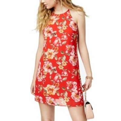 Red  ファッション ドレス BCX Red Size XS Junior Floral Printed Racerback High Neck Shift Dress