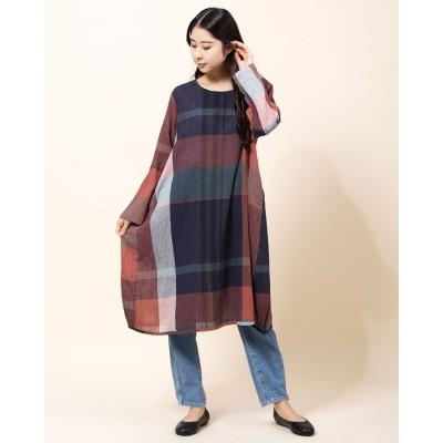 カンカン KANKAN 綿麻チェックサイドギャザードレス (レッド)