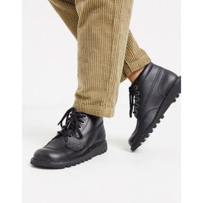 キッカーズ レディース ブーツ・レインブーツ シューズ Kickers Kick Hi flat leather boots in black
